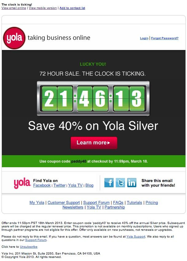 Yola S St Patricks Day Sale Email With A Streaming Countdown Clock