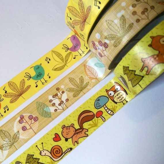 Forest Animals, Birds, Leaves Washi Tape Sample