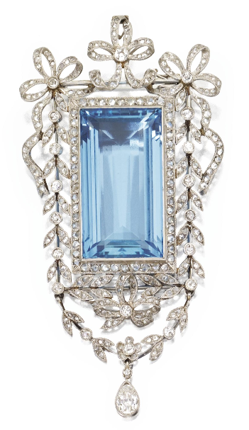 Platinum, Aquamarine and Diamond Pendant-Brooch, Circa 1910. Set in the centre with an emerald-cut aquamarine weighing approximately 33.15 carats, within a frame of stylised bows and foliate design set with pear-shaped, old European-cut and rose-cut diamonds weighing a total of approximately 2.75 carats.