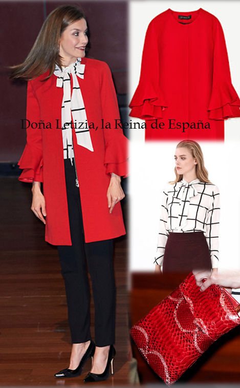Queen Letizia wore a coat of Zara, Roberto Verino's blouse, Carolina Herrera's shoes and bag