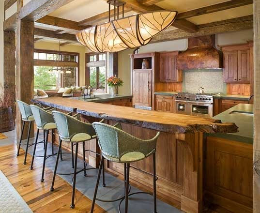 Kitchen With Wood Slab Bar   I Think I Have Died And Gone To Heaven! Log  Home Kitchen