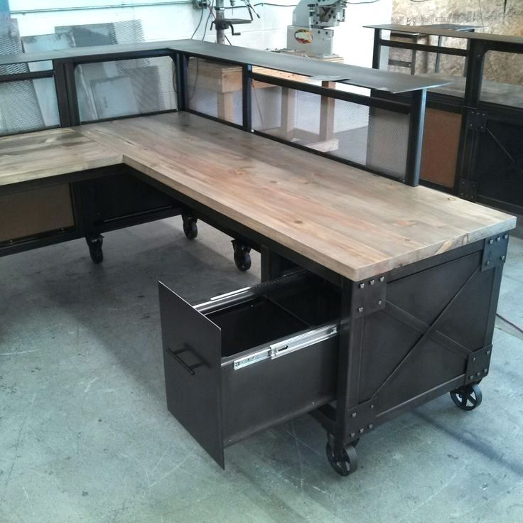 Desk Metal Office Used Steel Furniture For Custom Reception L Shaped And Beetle Kill Pine Reclaimed Vintage