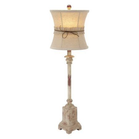 Decmode 44934 Country Cottage Style Tan And Cream Buffet Lamp With Ruffle Bow Lamp Shade 4 X 31 Walmart Com Buffet Lamps Lamp Sets Lamp