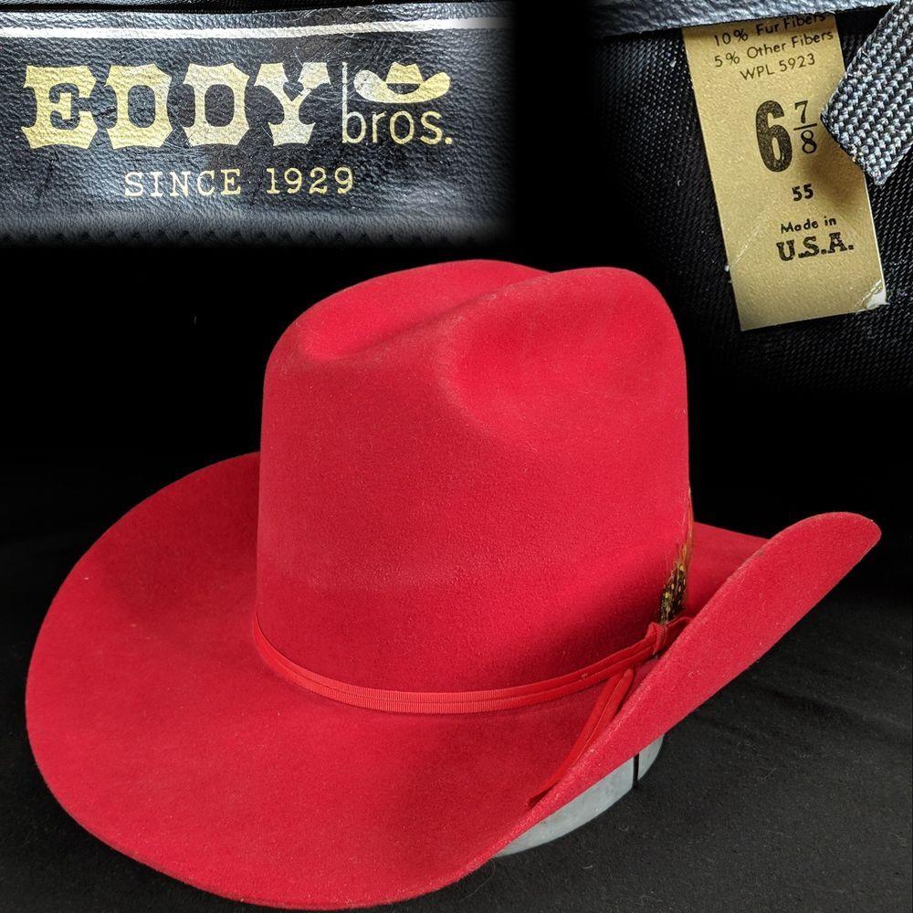 Vintage 1980s Eddy Bros XX Felt Red Cowboy Hat Western Sports Team 6-7 8   fashion  clothing  shoes  accessories  vintage  vintageaccessories (ebay  link) dbb46375405