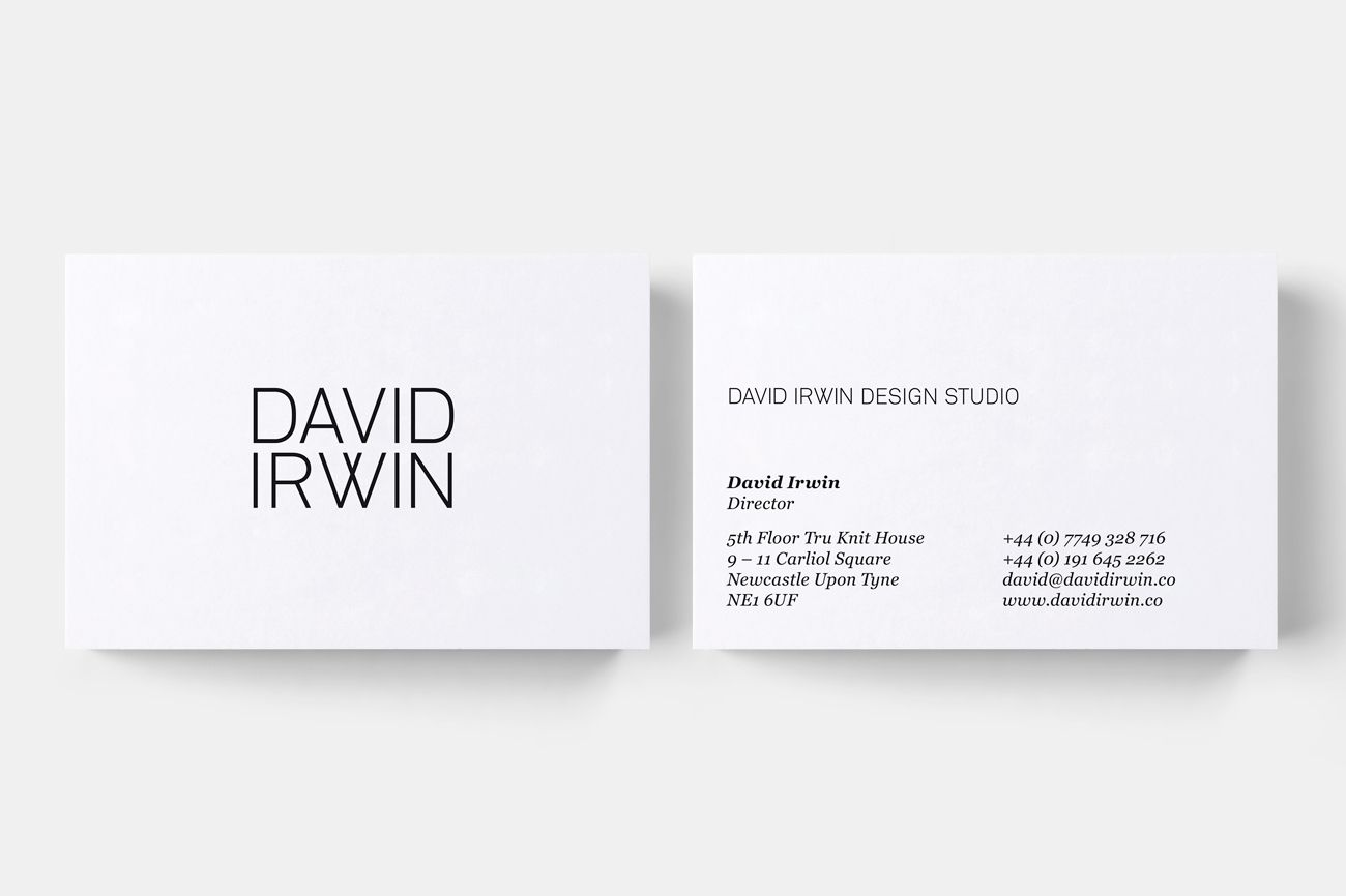 David Irwin Business Cards Business Card Design Minimalist Business Identity Design Minimalist Business Cards