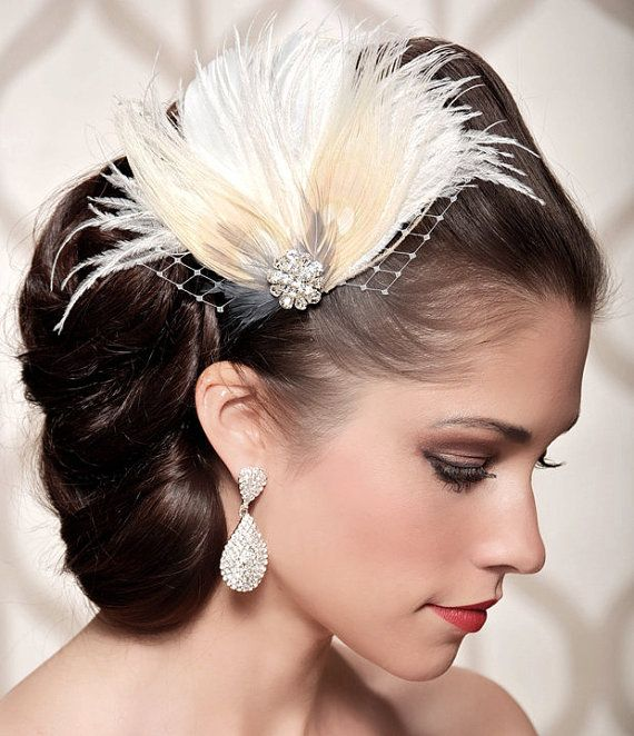 Ivory Bridal Head Piece Champagne Pea Feather Fascinator Vintage Inspired Rhinestone Wedding Hair Piece Made