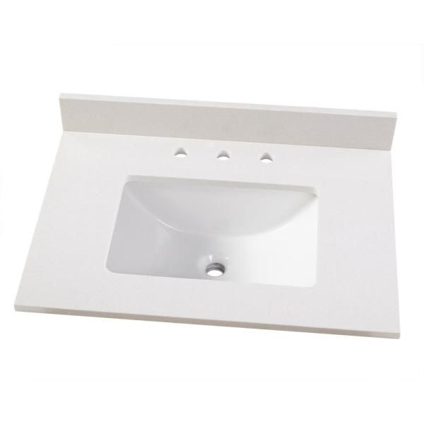 Home Decorators Collection 31 In W X 22 In D Engineered Marble Vanity Top In Snowstorm With White Single Trough Sink 31203 The Home Depot In 2020 Marble Vanity Tops Vanity Cabinet Marble Vanity