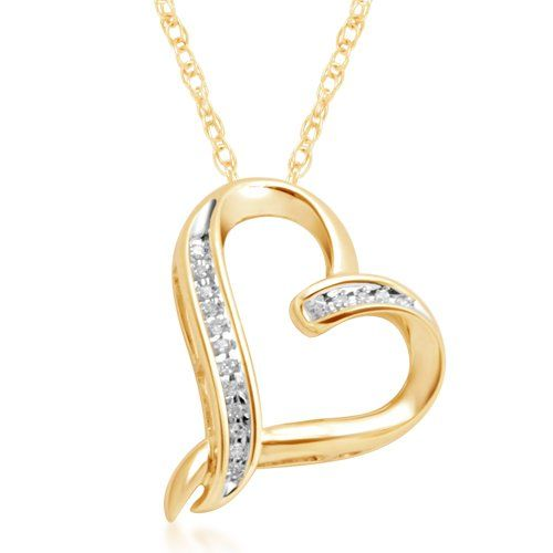 Beautiful gold heart necklace 10k yellow gold diamond abstract beautiful gold heart necklace 10k yellow gold diamond abstract heart pendant necklace 17 precious aloadofball Image collections