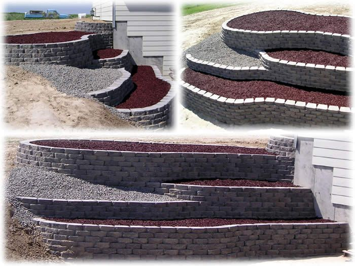 hillside retaining wall terraced