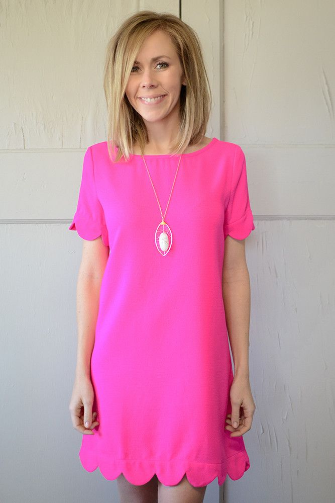 Sabella Scallop Dress - Hot Pink | P I N K | Pinterest | Her hair ...