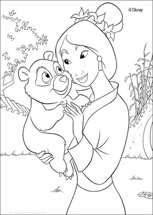 disney baby princesses coloring pages - princess mulan holding a baby panda coloring page disney