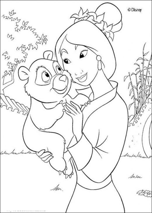 princess mulan holding a baby panda coloring page - Mulan Coloring Pages
