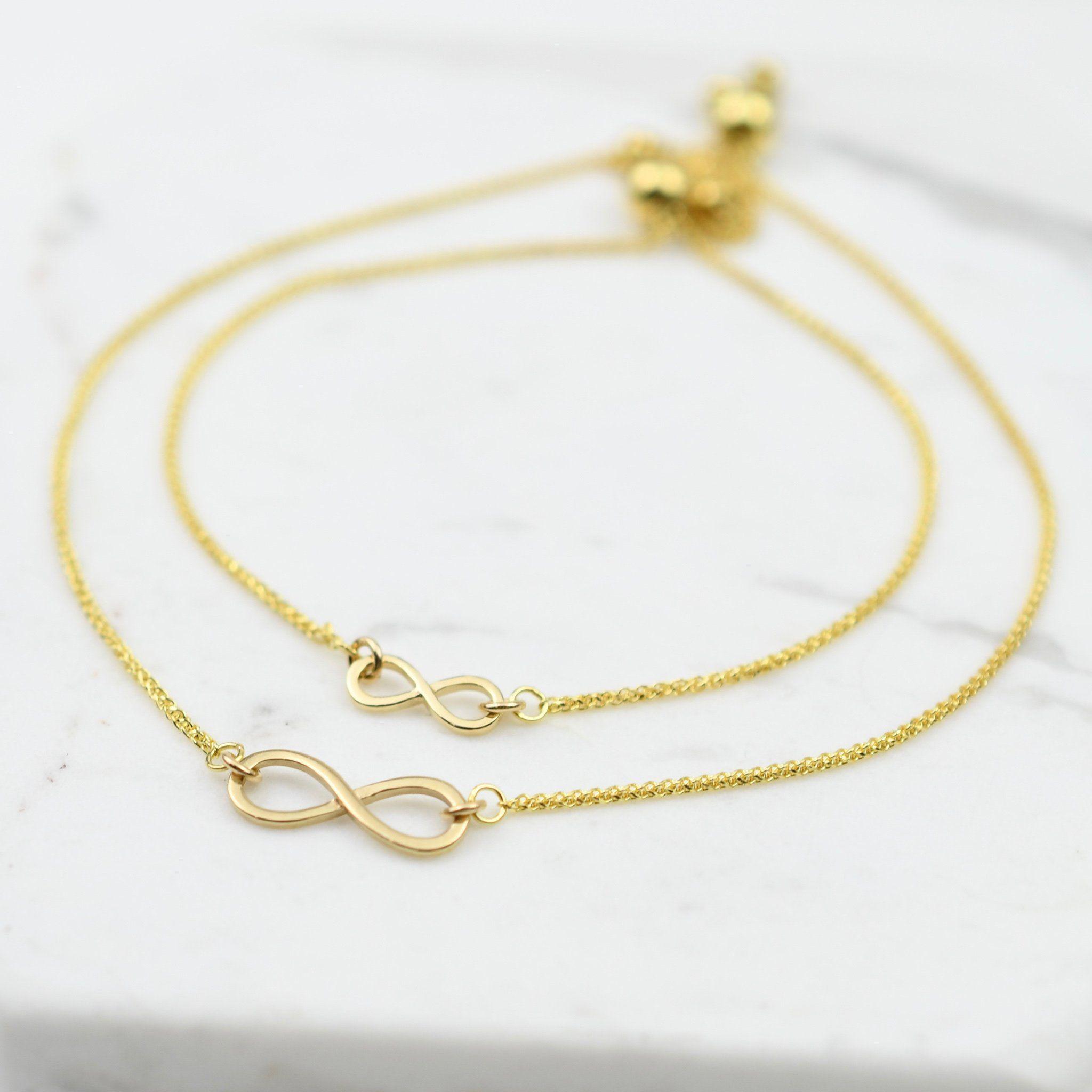 14k yellow gold infinity charm bracelet