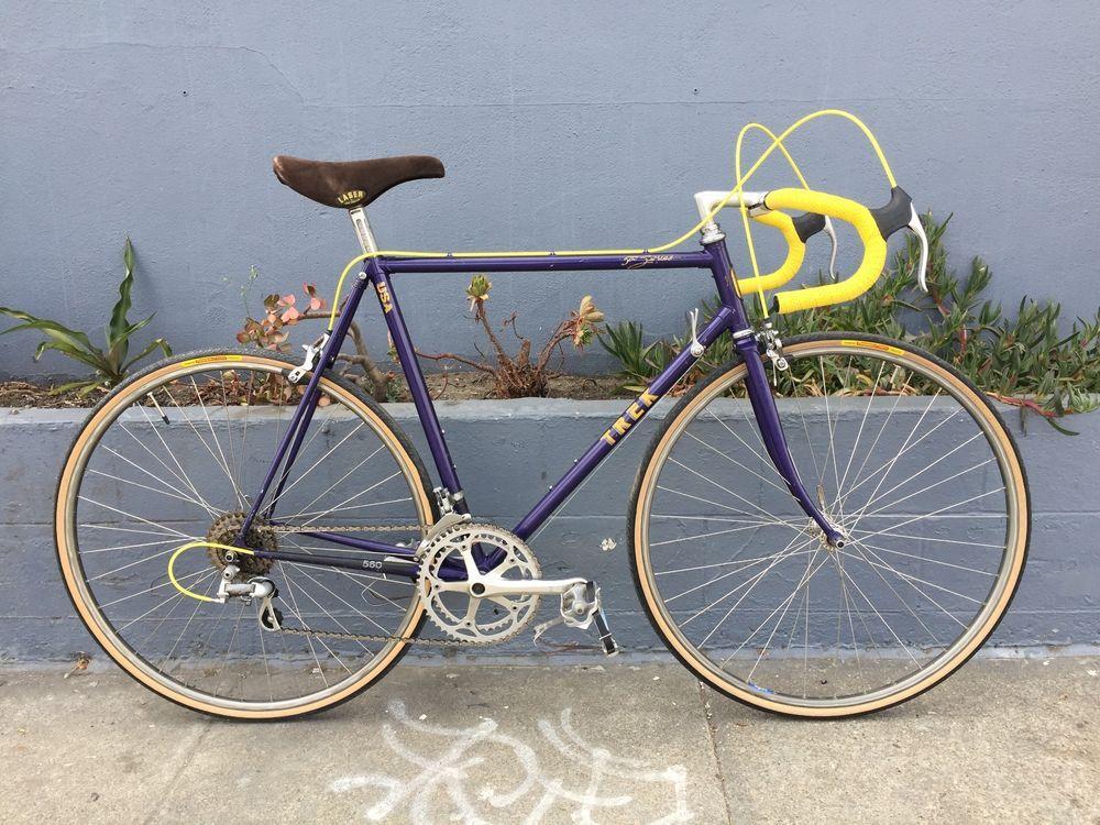 Vintage 1985 Trek 560 Purple Yellow 57cm Road Bicycle Bikes For Sale Bike Bicycle