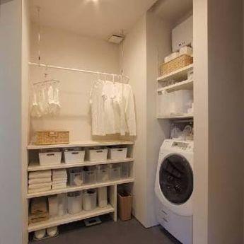 収納 住宅 施工例 大容量 の画像検索結果 脱衣室 収納 洗面所 収納棚 インテリア 収納