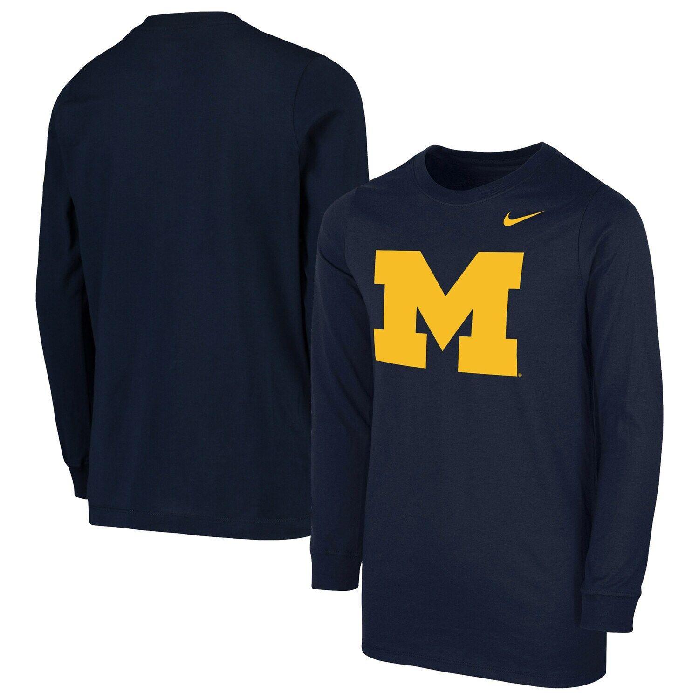 Youth Nike Navy Michigan Wolverines Core Long Sleeve T Shirt Affiliate Navy Sponsored Michigan Youth Nike Long Sleeve Long Sleeve Tshirt Sleeves [ 1500 x 1500 Pixel ]