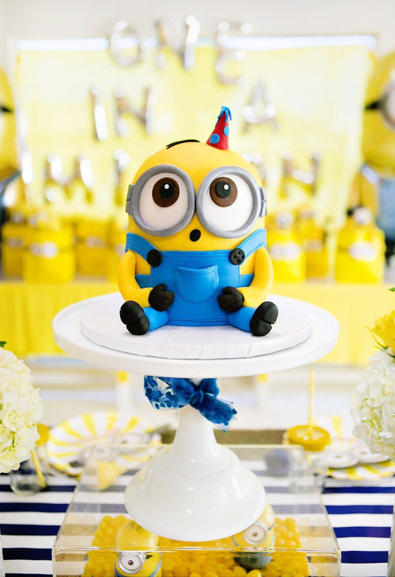 """modern  bright """"one in a minion"""" themed birthday party"""