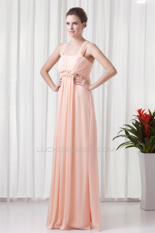 Halter Floor-Length Sleeveless Ruffled Chiffon Bridesmaid Dresses ...