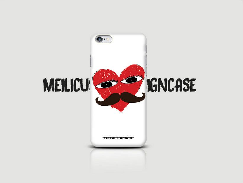 Big Heart Face Graphic Cell Phone Case (Unique Red Heart Print Case for iPhone 6/iPhone 5/iPhone 5S/Samsung Galaxy) Hipster Case by raumshop on Etsy