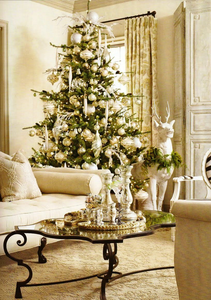 Glamorous Pottery Barn Christmas Living Room Decorating Idea In White Color  Nuance Christbaumschmuck, Weihnachten Wohnzimmer