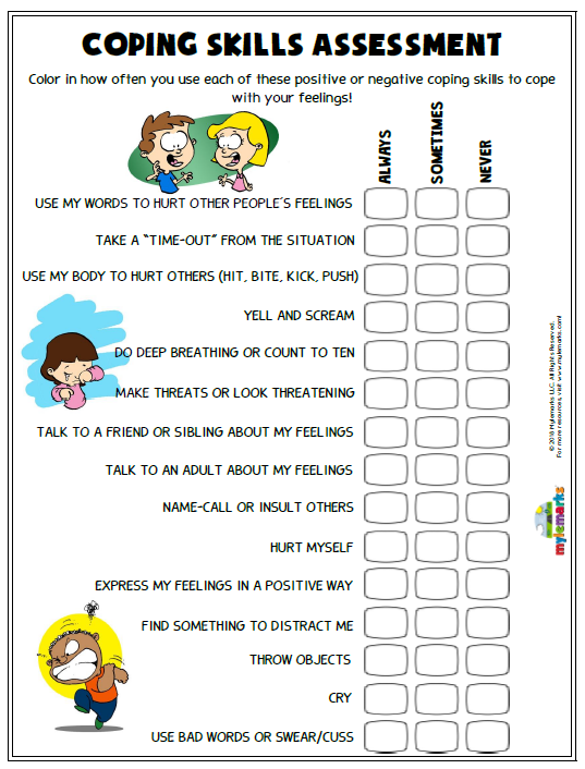 Coping Skills Assessment Es F Coping Skills Activities Coping Skills Therapy Worksheets