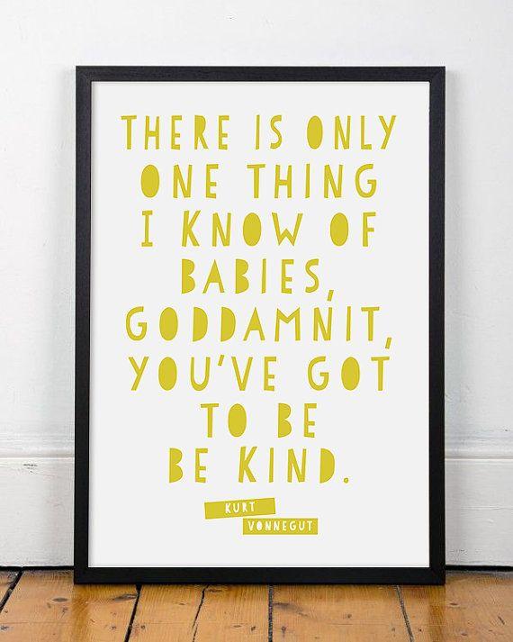 12x16 Kurt Vonnegut Art Quote // Custom Color // Wall Art // Quote ...