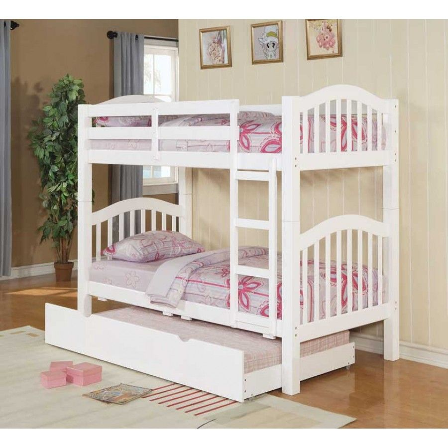 Twin bunk beds white - Acm White Finish Twin Bunk Bed With Trundle Picture Listed In