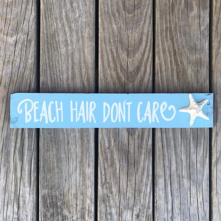Photo of Beach House Sign | Beach Hair Don't Care Sign | Coastal Wall Decor | Starfish Decor | Beach Bathroom Decor | Mermaid Hair Island Hair Sign