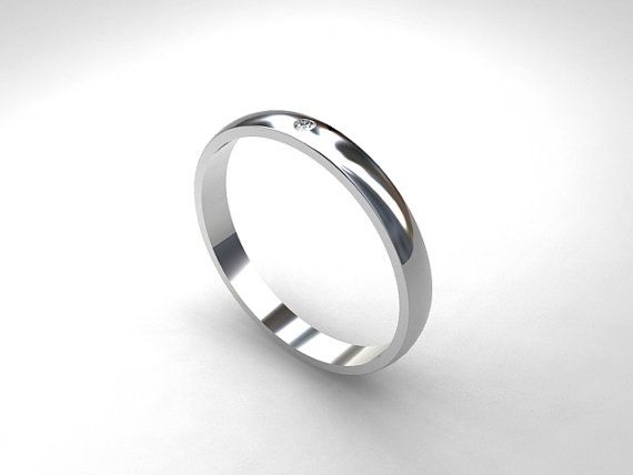 Diamond Wedding Band Platinum Ring Simple Contemporary Modern Unique Anniversary