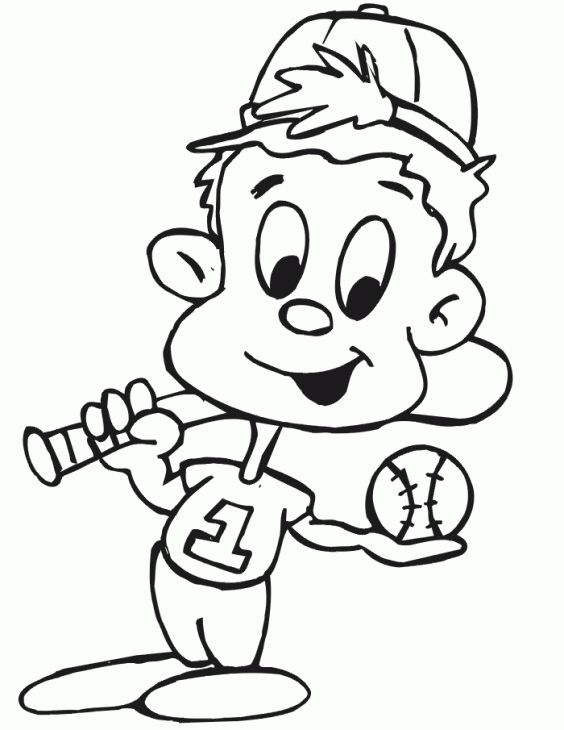 Cartoon Baseball Kids Printable Colorng Page Baseball Coloring