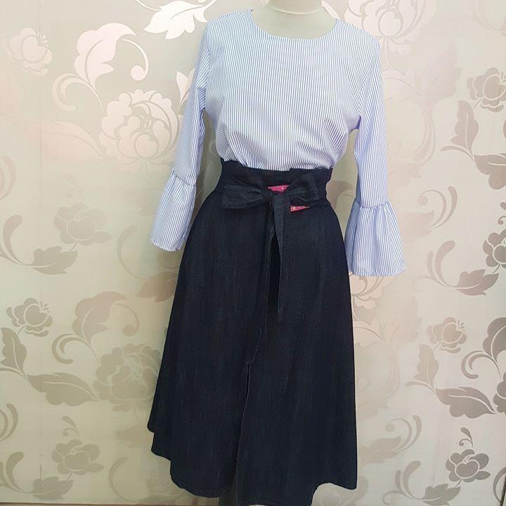 #gonnelone #denim #camicia #righe #valeria #abbigliamento