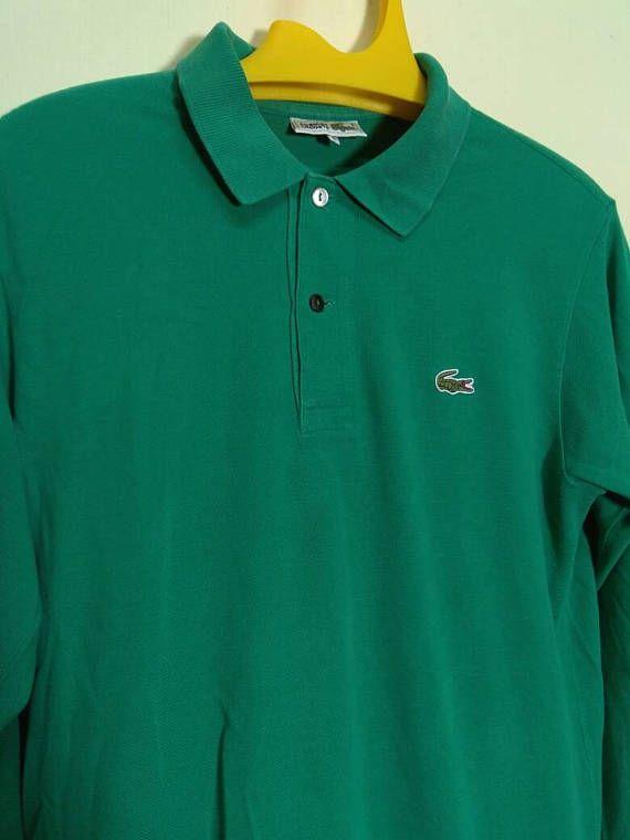 38933487d Vintage LACOSTE Long Sleeve Shirt Men Medium Lacoste Polo Shirt Men Polo T  Green Colour Fred Perry Sportswear T Men s Size M by ArenaVintage