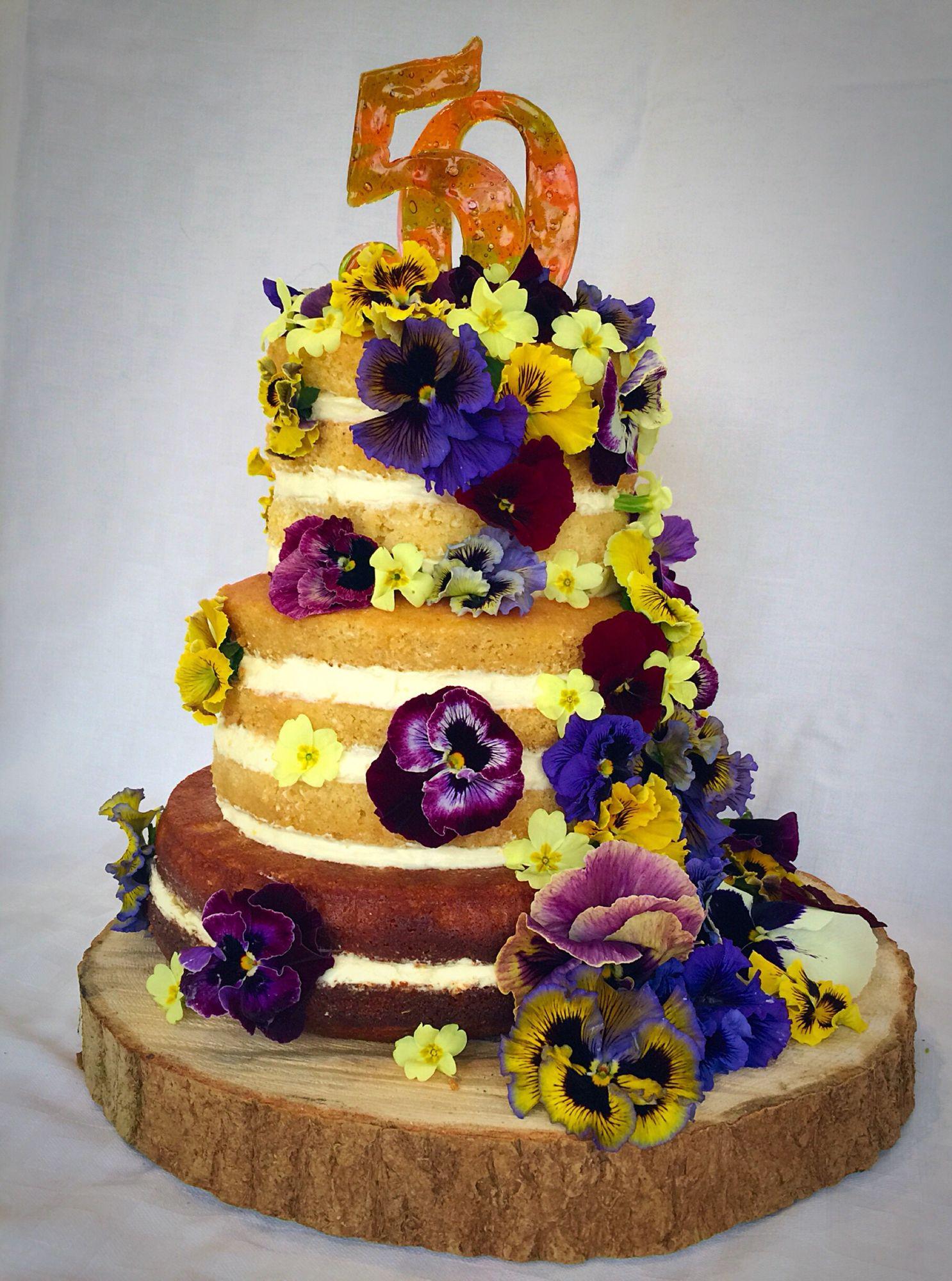 Cake · Naked Lemon Cake With Fresh Edible Flowers