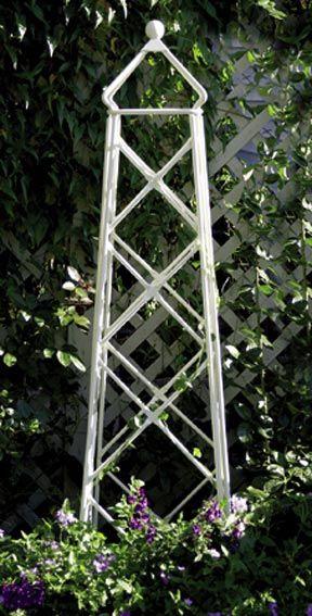 Perfect Ivory Lattice Wrought Iron Garden Obelisk