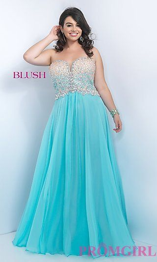 Plus Size Strapless Sweetheart Prom Dress by Blush at PromGirl.com ...