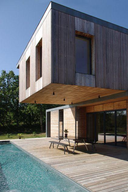 Contemporain Façade by François Primault architecte Outside - facade de maison contemporaine
