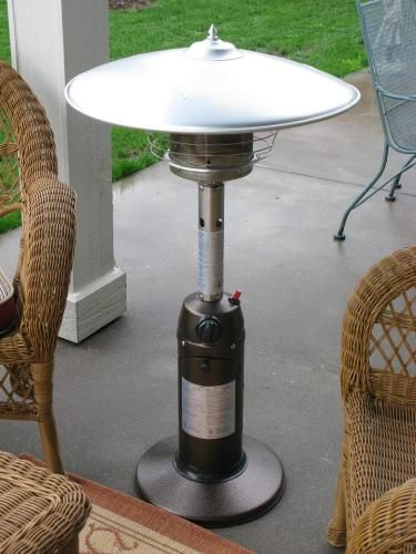 Hampton Bay 11 000 Btu Powder Coated Bronze Tabletop Propane Patio Heater Hps C Pc Small Patio Furniture Small Patio Small Patio Spaces