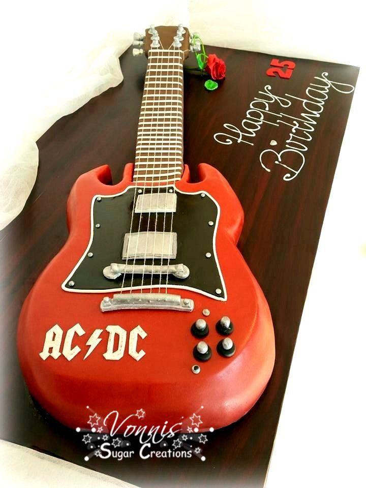 Ac Dc Guitar Cake Fondant Birthday Rock Torte Kuchen