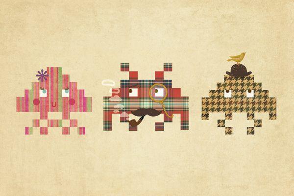 gaming + nostalgia + fashion mashup.   heyoscarwilde:    Fashionable Invaders  illustration by by Terry Fan:: viaigo2cairo