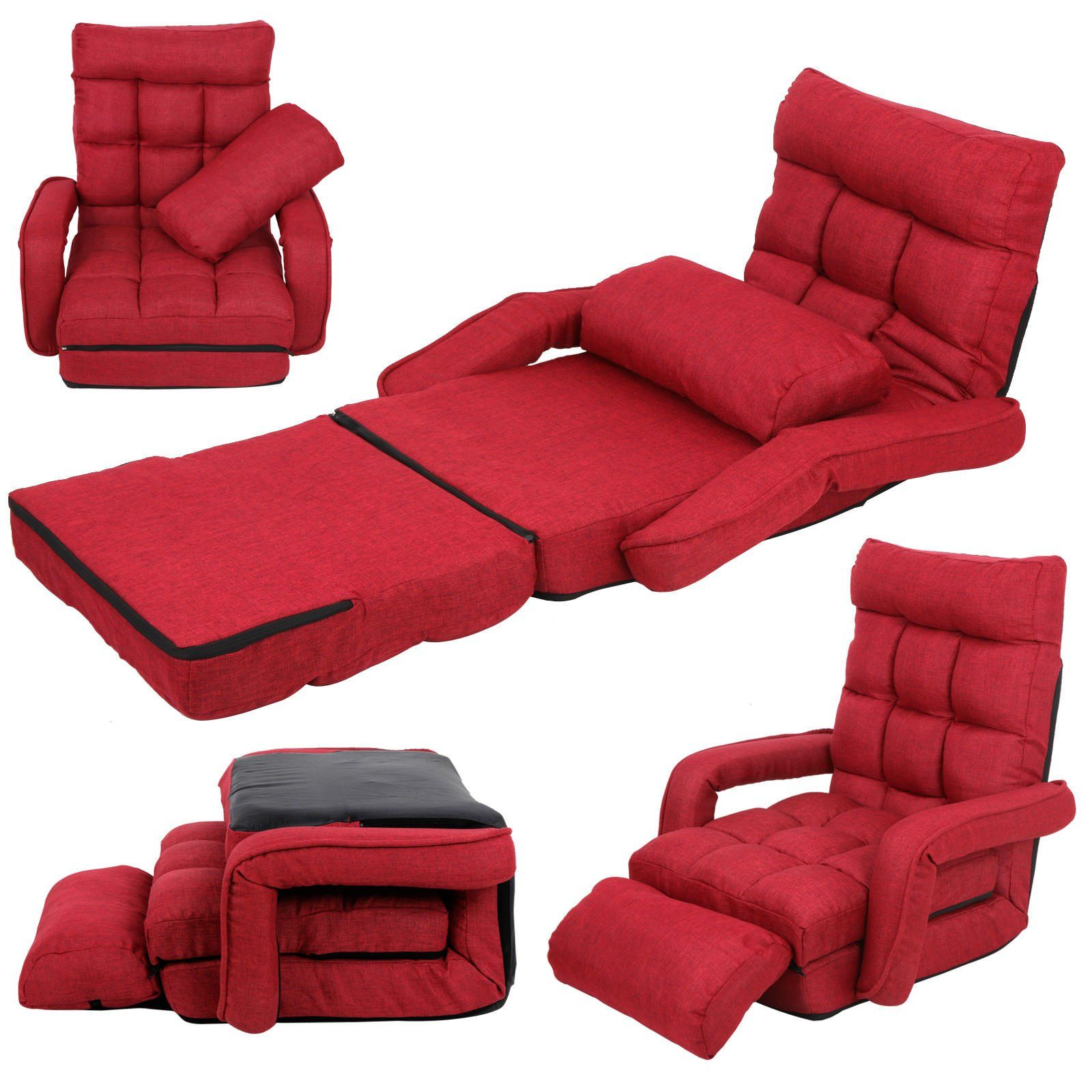 Red Adjustable Folding Lazy Sofa Floor Chair Sofa Lounger ...