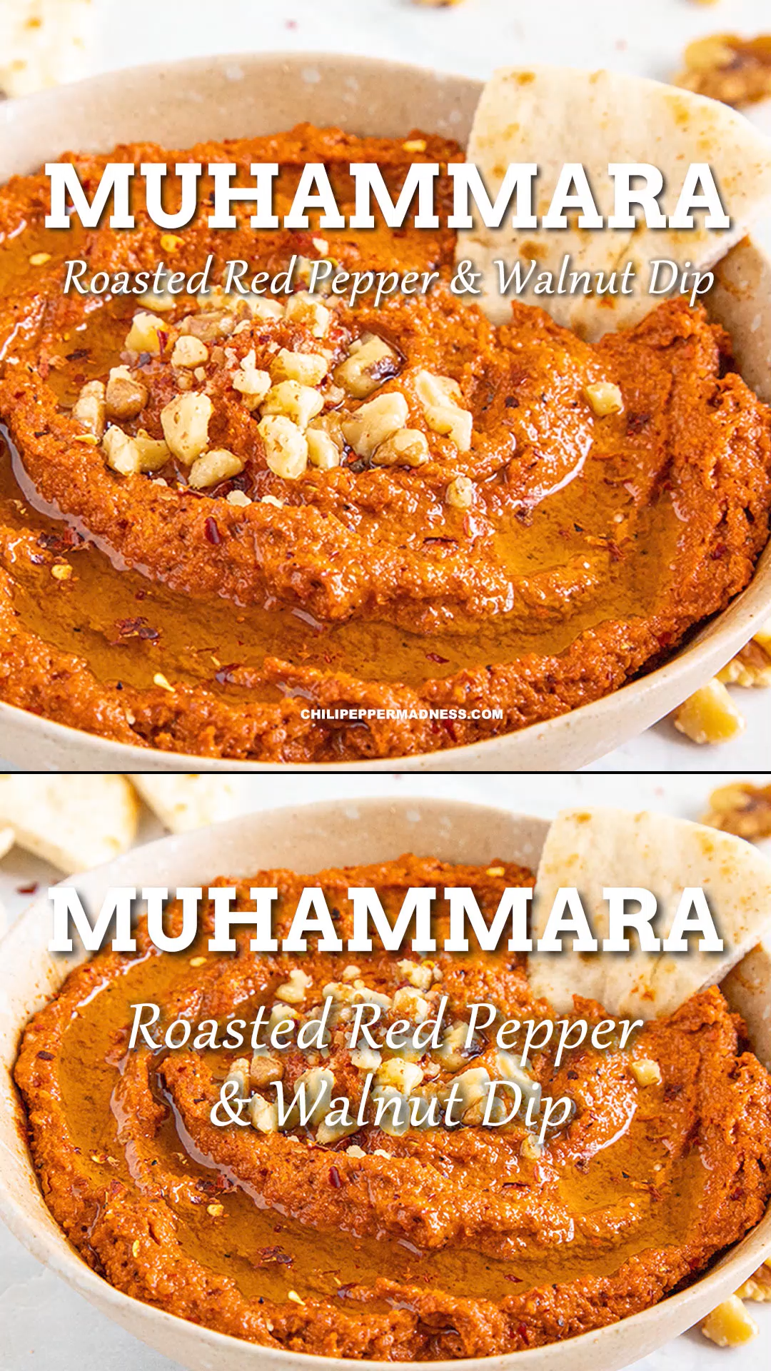 This easy savory dip recipe has oven-roasted red peppers and delicious flavor from pomengranate juice and nutty walnuts. Muhammara is an easy, authentic appetizer from the Middle East. #dips #partyfood #easyrecipe #appetizers