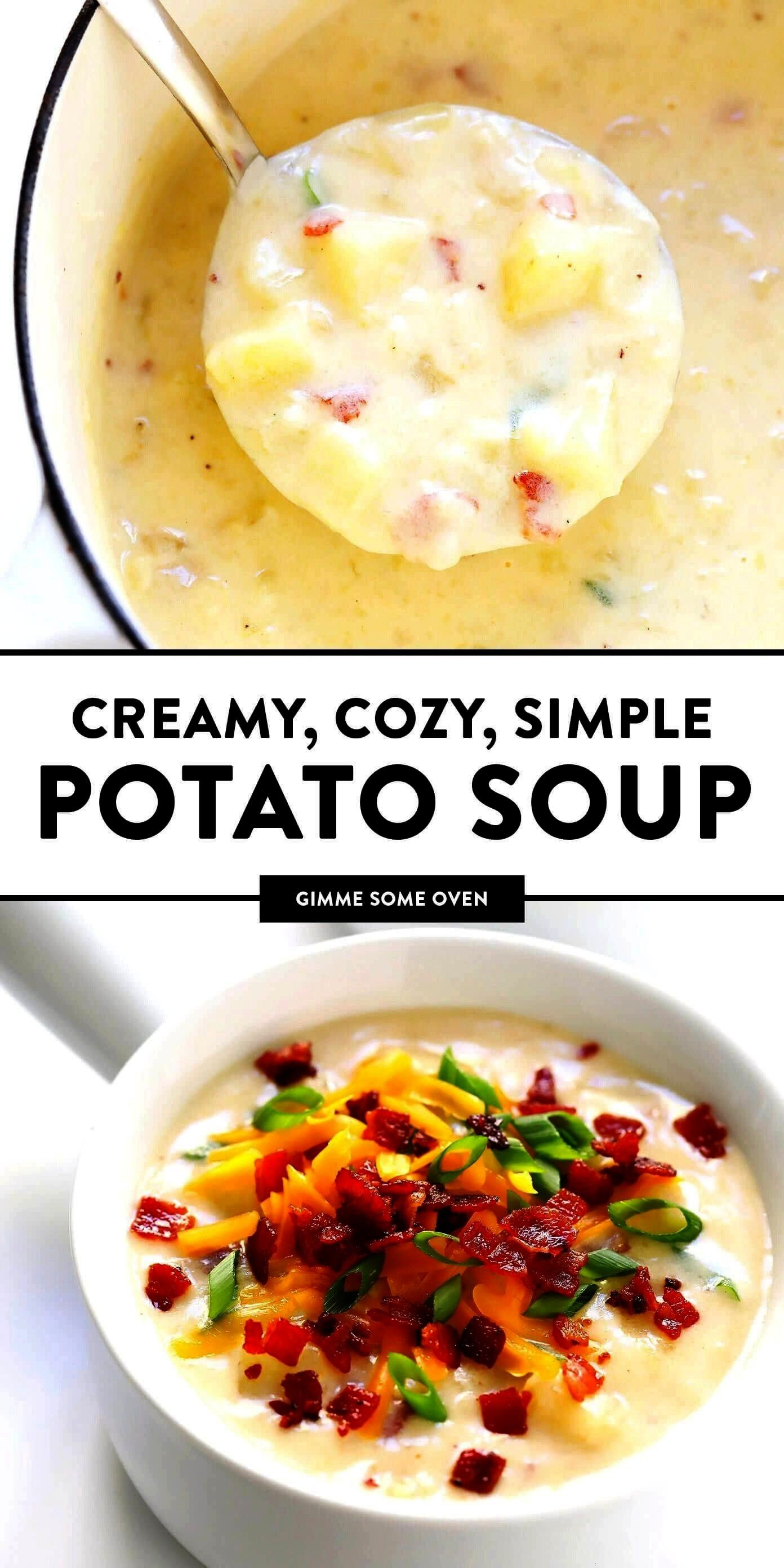 Soup recipe Its quick and easy to make nice and creamy with zero heavy cream with lots of bacon if youd like Total comfort food  Gimme Some OvenThe BEST Potato Soup recip...