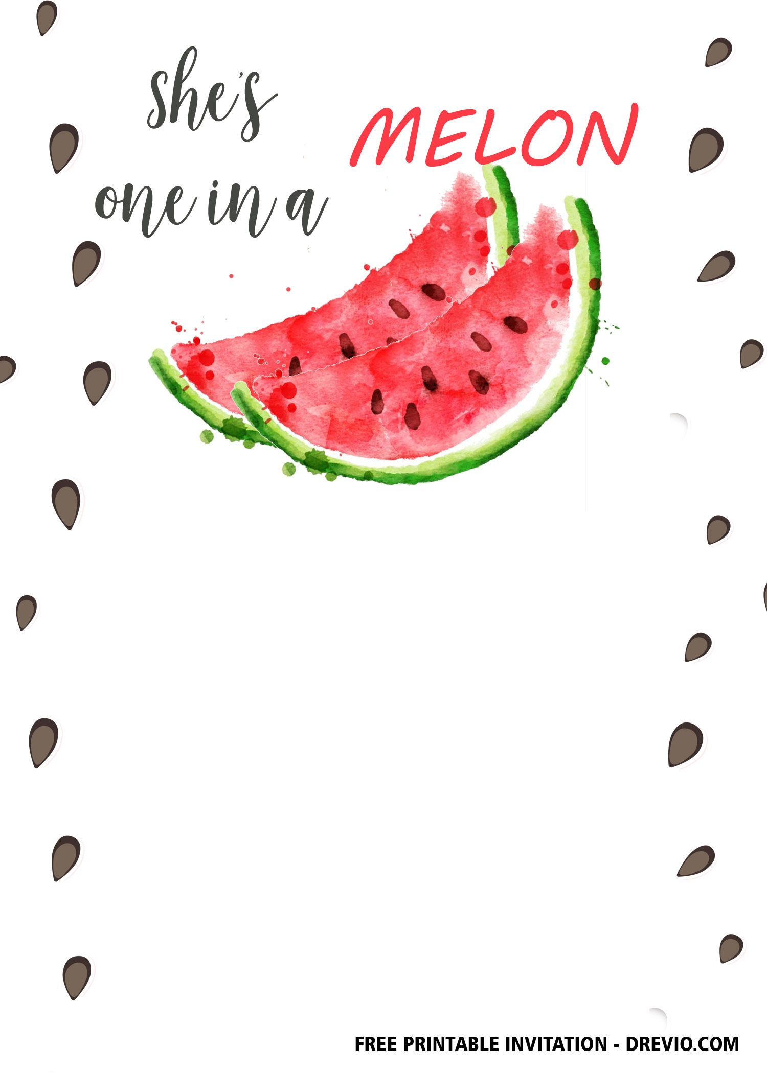 FREE 4st Watermelon Birthday Invitation Templates  Watermelon