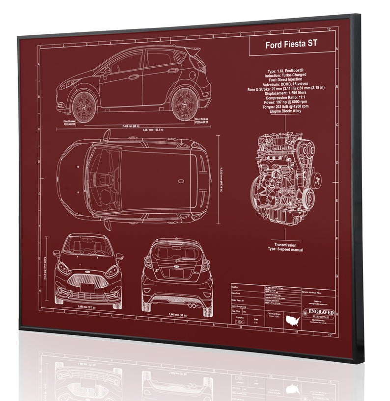 Ford Fiesta St Personalized Laser Engraved Wall Art Poster