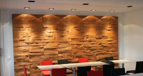 Boutique Wandverkleidung Innenraum Einrichtung Holz Paleete Einbaubeleuchtung