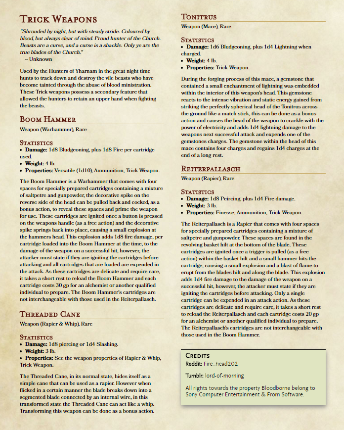 DnD 5e Homebrew — Bloodborne Trick Weapons by fire_head202