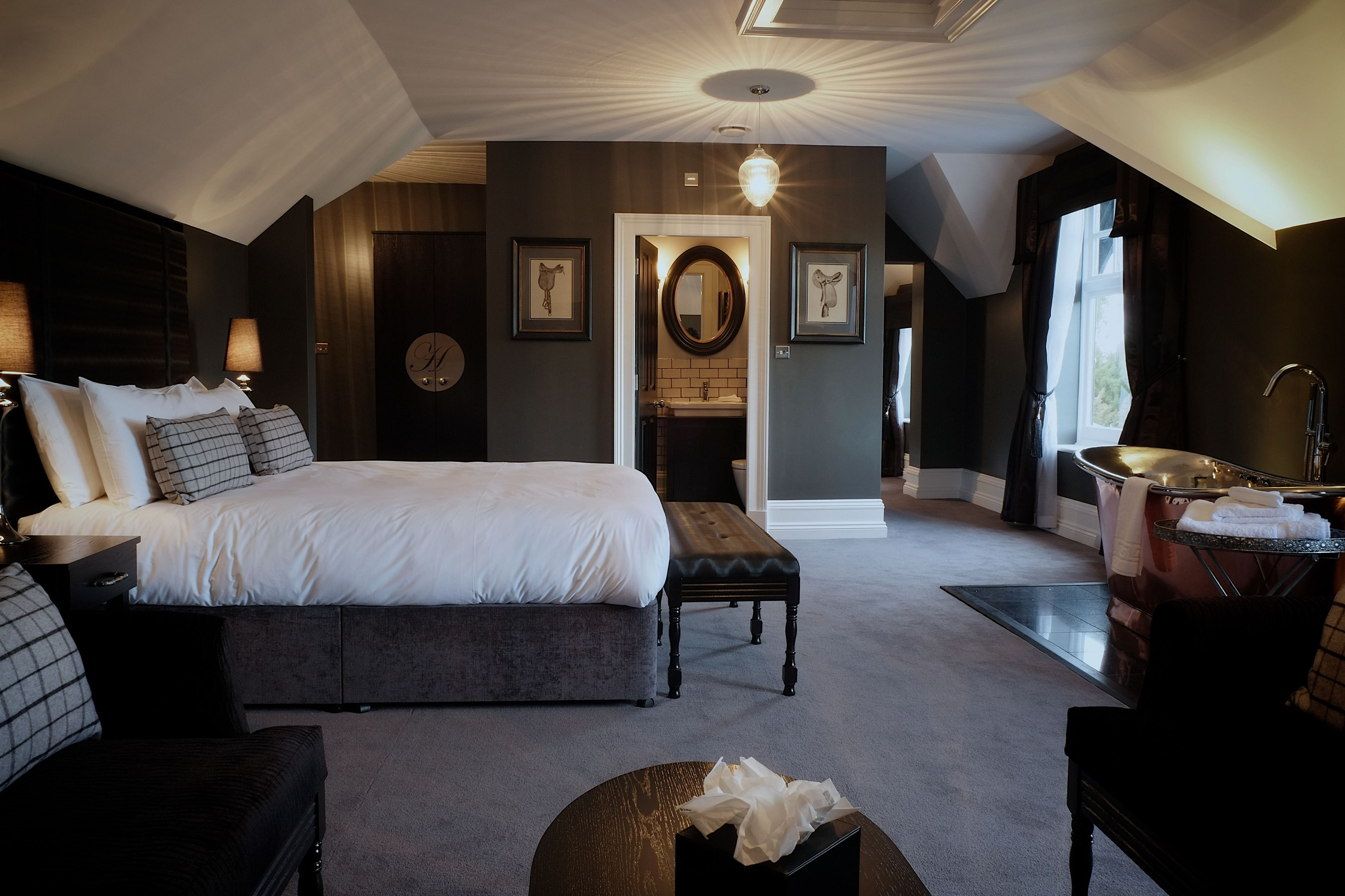 Classic Dark Bedroom With Slanted Ceilings Not Crazy About The