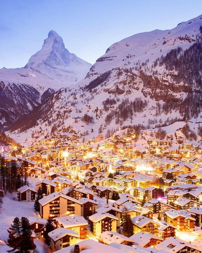 Lit Up Communities On The Foot Of Zermatt Matterhorn A K A The Toblerone Mountain Travel Purpose Of Travel Switzerland Wallpaper