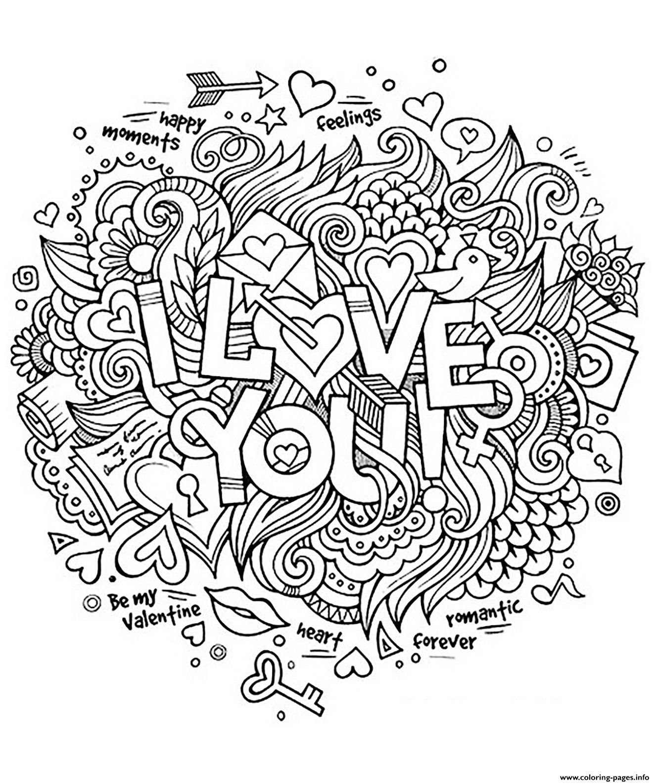 Print adult heart amour I love you romantique coloring pages ...