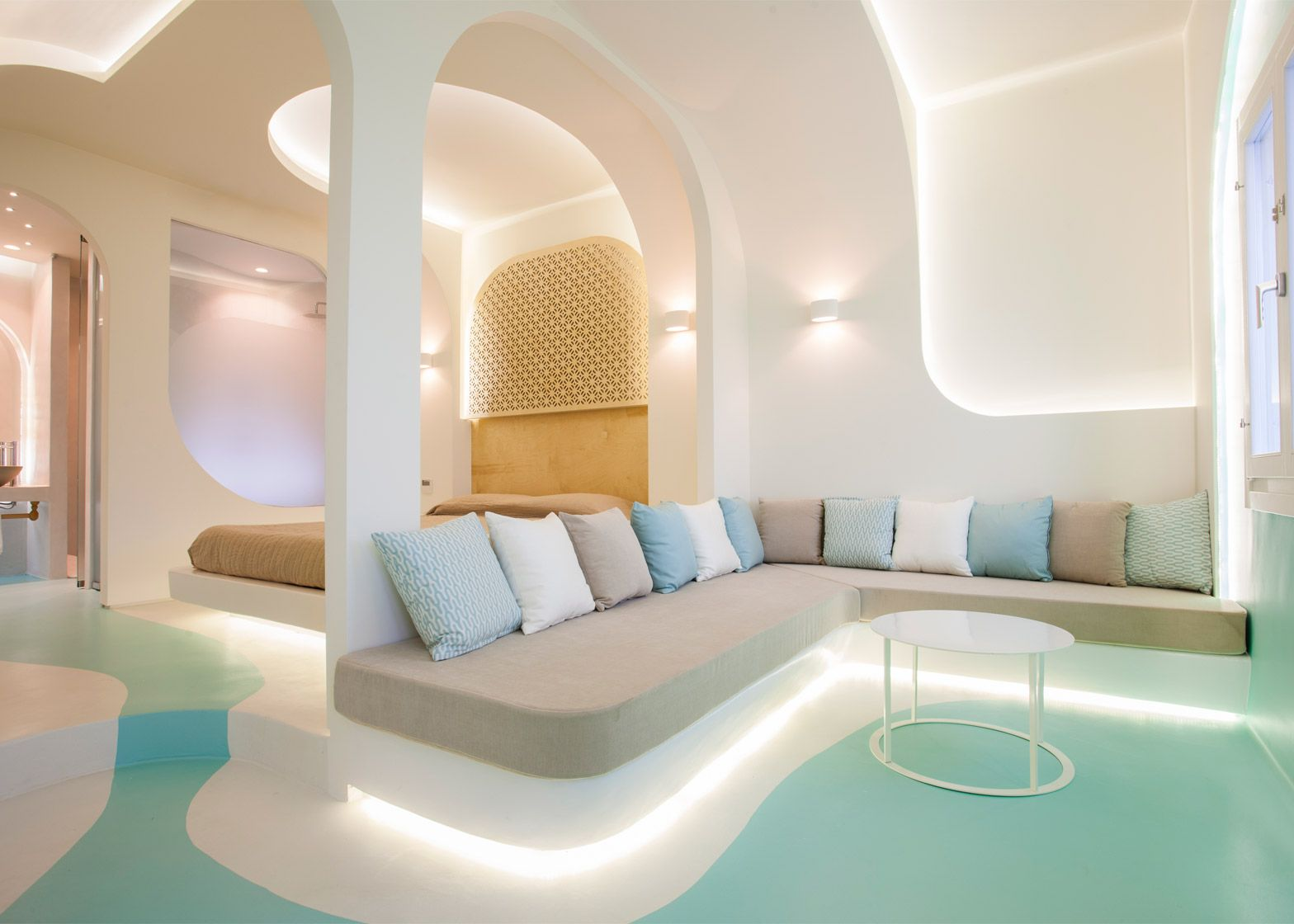 KLab decks out Santorini hotel in smooth curves   interior ...
